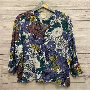 Maeve | multi color floral frayed hem blouse